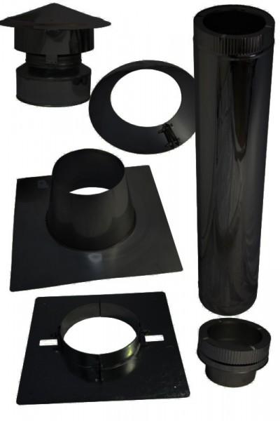 Kamin Dachdurchführung für Bitumen Flachdach im Set schwarz