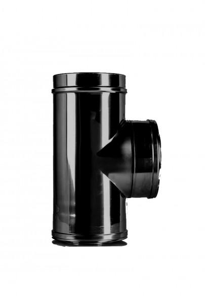 T-Stück DN 150 doppelwandig ISOTUBE Plus schwarz