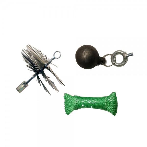 Schornsteinfeger-Set mit Drahtbürste und 2 kg Kugel